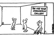 """""""The use your imagination gallery"""", cartoon published in The Age on December 3, 1986."""