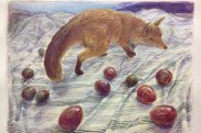 FOX WITH MIXED PASSIONFRUIT (2018), by Merrick Fry, watercolour on paper; chalk pastel & charcoal; 61CM x 83cm.