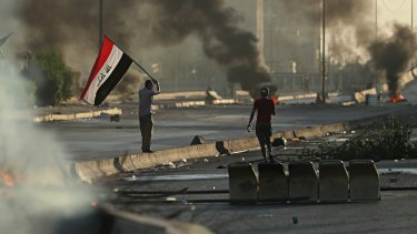 The protests were renewed at the weekend after a two-day-old curfew in Baghdad was lifted early Saturday.