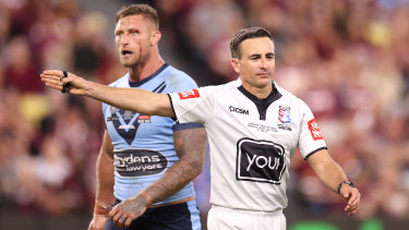 The NRL warned Bernard Sutton his brother Gerard would not referee the second Origin match if Bernard continued assisting the Maroons.