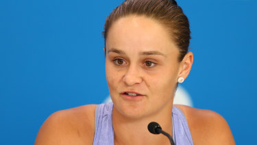 Big gesture: Ash Barty talks to media in Brisbane on Sunday.