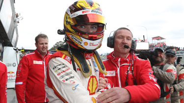 Scott McLaughlin celebrates his maiden Bathurst victory..