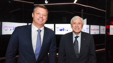 Seven West Media chairman Kerry Stokes, right, and chief executive James Warburton.