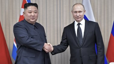 North Korea's leader Kim Jong-Un and Russian President Vladimir Putin pose for a photo prior to their talks in April.