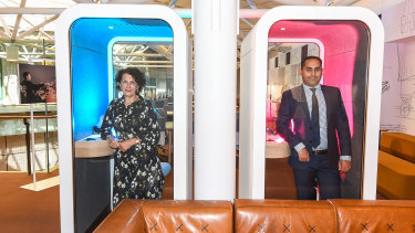 StartSpace at the State Library. Library Board of Victoria Deputy President and StartSpace Donor, Christine Christian and Catalysr founder, Usman Iftikhar in sound proof booths in the coworking space.