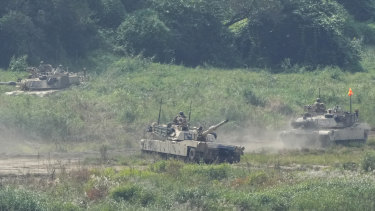 US military tanks conduct an exercise in Yeoncheon, near the border with North Korea, South Korea on Friday.