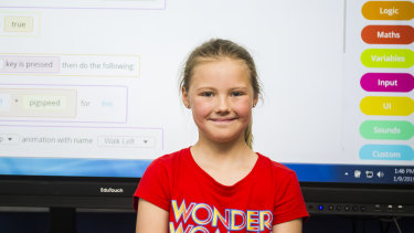 Matilda Bowen keeps busy these school holidays by learning to code.
