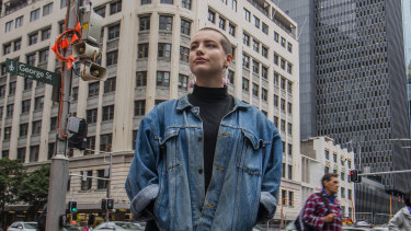 Edie Bannerman, youth ambassador for Plan International Australia, in Sydney's CBD.