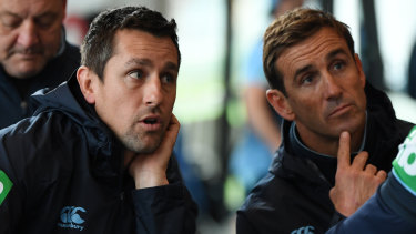 Team man: Returning Blues half Mitchell Pearce with Andrew Johns.