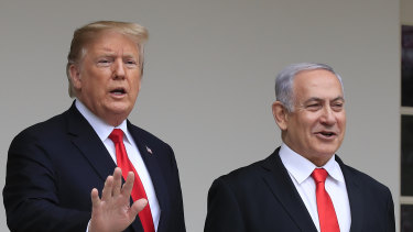 US President Donald Trump welcomes visiting Israeli Prime Minister Benjamin Netanyahu to the White House in Washington in March.