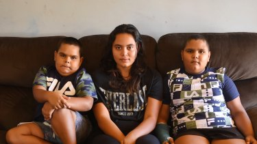 Thomas Smith, Aaliyah Ingram and Daniel Smith at their home in Cowra in the state's Central West.