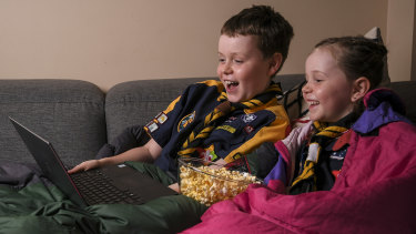 Aston and Harriet are excited about connecting with other children online in Scouts Victoria's online camp.