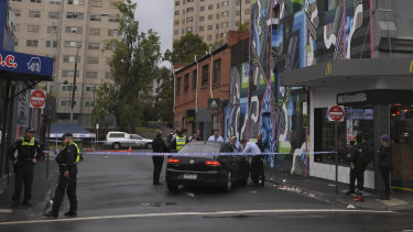 Police at the scene where shots were fired near Chapel Street in Saturday morning.
