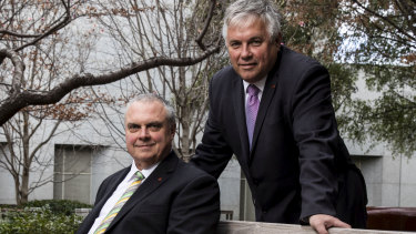 Centre Alliance Senator Stirling Griff (left) pictured with Independent Senator Rex Patrick (right) who has called on him to reject the Morrison government's university funding reforms.