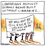Librarians against schools being built without libraries.