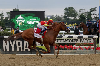 Justify wins the third leg of the Triple Crown, the Belmont Stakes.