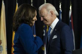 The running mates ... Kamala Harris with Joe Biden at the Democratic Convention.