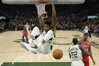 Giannis Antetokounmpo led the Bucks to victory over the 76ers.
