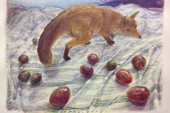 Fox With Mixed Passionfruit (2018) on paper; chalk pastel & charcoal; 61 cm x 83 cm.