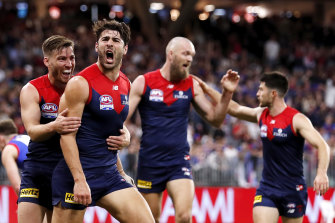 A Christian Petracca-inspired Melbourne stormed to victory over the Dogs.