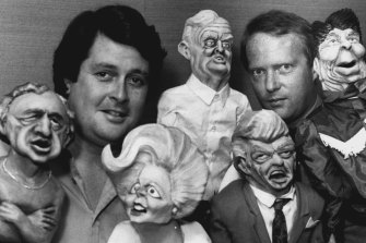 Paul Murphy and Andrew Saw with puppets used in Nation Wide Friday nights, at the ABC Gore Hill studios. October 26, 1983.