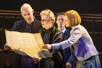 From left, Tom Wren as Draco Malfoy, Debra Lawrance as Professor McGonagall, Gareth Reeves as Harry Potter and Lucy Goleby as Ginny Potter.