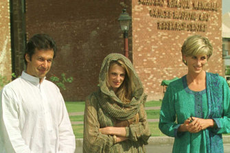 Imran Khan with his then wife Jemima and Princess Diana in 1997, outside the cancer hospital he built and named after his mother.