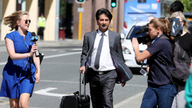 Barrister Lloyd Rayney arrives at court in 2017. His battles attracted huge attention in WA.