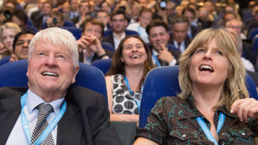 Boris Johnson's father, Stanley, and sister, Rachel, at the Conservative Party conference last year.