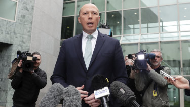 Home Affairs Minister Peter Dutton launches his failed leadership coup in August.