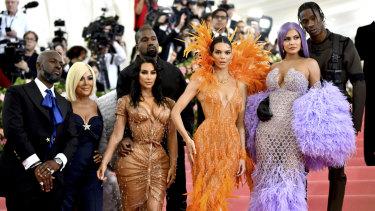 Corey Gamble, from left, Kris Jenner, Kim Kardashian, Kendall Jenner, Kylie Jenner and Travis Scott at this year's Met Gala.