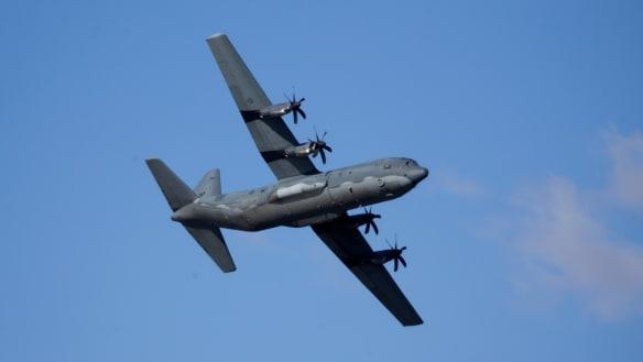 RAAF Hercules' landing gear malfunctions above Townsville Airport