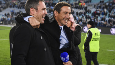Blues brothers: Fittler and Andrew Johns after fulltime.