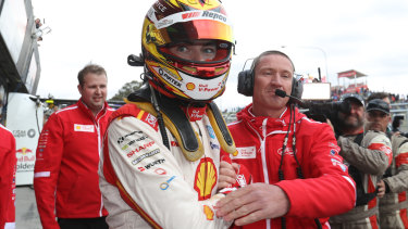 Scott McLaughlin celebrates after taking pole position during the Top 10 Shootout for the Bathurst 1000.