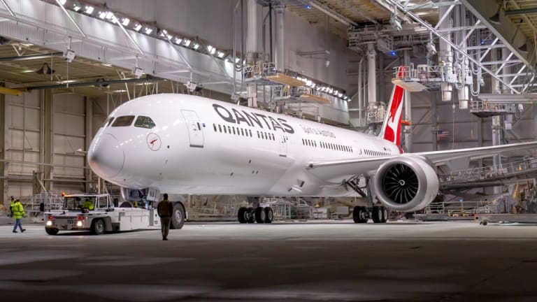 Qantas' new Boeing 787-9 Dreamliner aircraft.