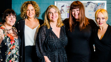 Foxtel's head of drama Penny Win, Leah Purcell, Fremantle Media's head of drama Jo Porter,Katrina Milosevic and Susie Porter at the Wentworth announcement on Wednesday.