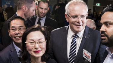Prime Minister Scott Morrison with Liberal Candidate for Chisholm, Gladys Liu, at her campaign launch held at Box Hill Golf Club in Melbourne last month.