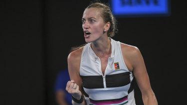 Petra Kvitova fights back to claim the second set.