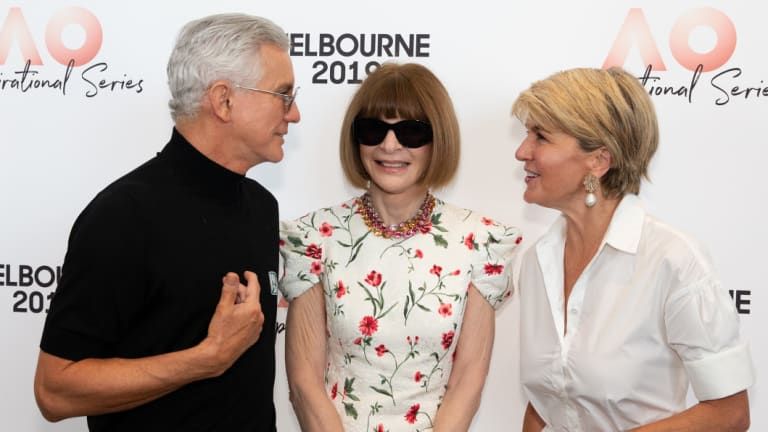 Powerful trio: Baz Luhrmann, Anna Wintour and Julie Bishop in Melbourne on Thursday.