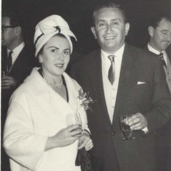 Eta and John Saunders at the opening of the Burwood shopping centre in the mid-1960s.