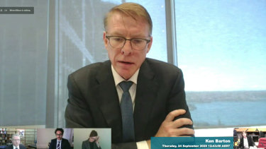 Crown CEO Ken Barton giving evidence to the ILGA inquiry on Thursday.
