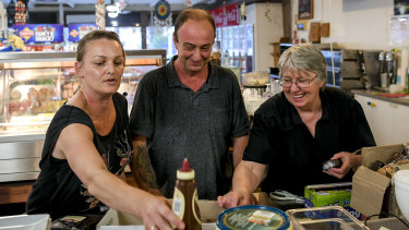 Relics Cafe owner Fred Marchie and two of his staff, Leah Norman and Julie Mustard.