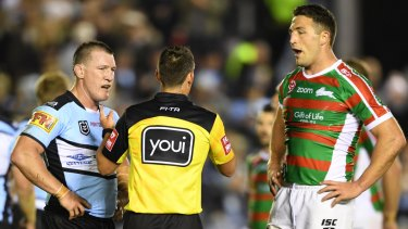 Bad look for the game: Sam Burgess' hit on Matt Moylan was punished with just a one-game suspension.