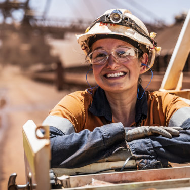 Electrician Nicole O'Keefe at the BHP Jimblebar reclaimer in WA.