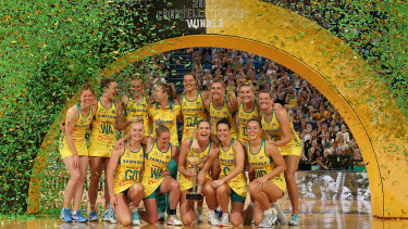 The Australian Diamonds celebrate with the Constellation Cup after winning the 2019 Constellation Cup match between the Australia Diamonds and the New Zealand Silver Ferns at RAC Arena on October 27, 2019 in Perth, Australia.
