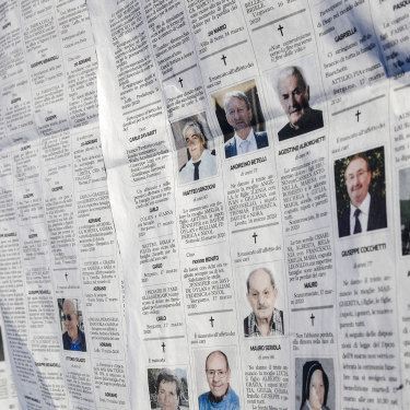 Local newspaper Eco di Bergamo has been running pages of obituaries as the crisis worsens in northern Italy.