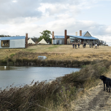 """The team at Captain Kelly's Cottage (at right) and the Shearers Quarters, on Tasmania's Bruny Island. Says John Wardle: """"As architects, we design, but the act of making is different."""""""