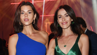 Georgia and Kate Fowler at the Cartier party under the Anzac Bridge on Thursday.