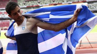 Miltiadis Tentoglou after winning gold.