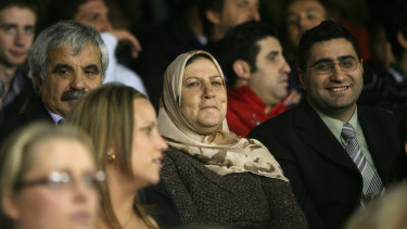 Bachar Houli's family watch him play his debut game.
